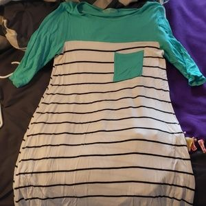 Teal and white/black striped dress